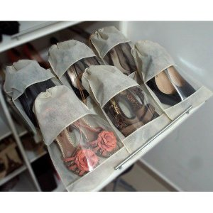 40 Sacos para Sapatos Beges com 38cm Altura x 28cm Largura - TNT, com Visor - Lavável - Produto 100% Nacional