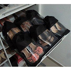 Saco para Sapatos Preto de TNT com Visor Lavável - 38 cm Altura x 28 cm Largura - CAIXA 40 Peças - 100% Nacional- Fazemos sob medida Whats (11) 97143-1706