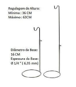 Expositor de Bolsa Cromado Com Regulagem de Altura ( 36 á 63 cm) - KIT COM 15 PÇS- Tempo de Fabricação até 10 dias úteis