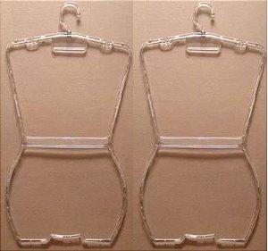 Cabide Silhueta Juvenil Acrílico Cristal Virgem - CAIXA 50 PÇS - 64 cm alt.x 32cm larg. x 1cm espessura