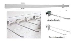 Barra  de Fixar na Parede para  Expor Ganchos 20Lx30A cm ( KIT 5 PEÇAS) - Substitui Painel Canaletado- Temos de 1 m á 1,7 m - Branco , Preto ou Cromado- Clique na foto para ver detalhes