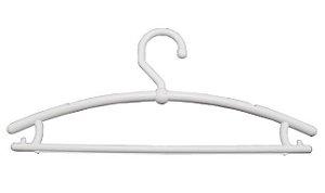 Cabide Boutique Fixo Fechado Bola Branco- CAIXA 100 PÇS - 17cm (altura) x 42cm (largura) x 1,5cm (espessura) - Projetamos e fornecemos todo material para sua loja whats: (11) 97143-1706