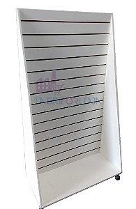 Gôndola De Chão Piramide de 1,83 m A x 90 cm L  ,Uma Face , com Rodas na Base - Com Canaletas de PVC nos Frisos -  Painel Canaletado MDF18 - Branco - 17 frisos -Clique na foto para ver detalhes