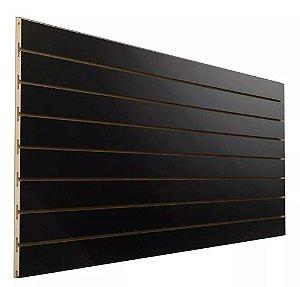 Painel Canaletado PRETO 0,61m Altura x2,75 M  Largura x 10 cm entre Canaletas- 6 Frisos - MDF de 18 mm