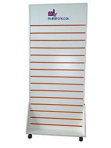 Gôndola Dupla Face  De Chão Frente Lisa  com Espaço para Logo Tipo - 1,83 m A x 93 cm L  - Com Rodas - Com Canaletas de PVC nos Frisos -  Painel Canaletado MDF18 - Branco - 34 frisos