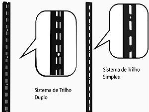 Trilho para Cremalheira com Furação Simples ou Dupla- KIT COM 5 TRILHOS - 1,99M - Cores Preto , Branco e Cromado - Clique na foto para ver detalhes