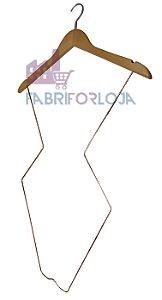 Cabide  Silhueta  Adulto de Madeira com Corpo em aço Rose - Super Luxo -  Marfim Claro-CAIXA 10  PÇS - 76 cm altura- Tempo de fabricação 5 a 8 dias úteis