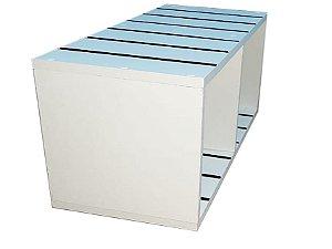 Nicho Duplo de MDF Branco Canaletado de 18 mm com Canaletas de PVC na Horizontal ( Escolher a cor da canaleta abaixo)- 68 cm largura x 30cm de altura x 30cm de profundidade - KIT COM 3 PÇS - Fazemos sob medida Whats (11) 97143-1706