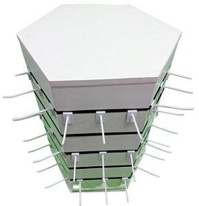Expositor para Balcão  Giratório  Canaletado  Hexagonal   - 6  Lados  24 cm x 65 cm  Altura -MDF 18mm Branco + 50 Ganchos de 15 cm Branco- Pronta Entrega