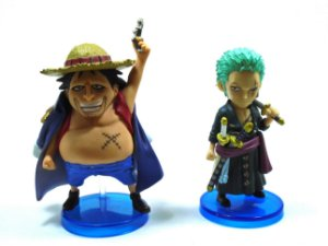 Banpresto One Piece Zoro, Fake Luffy  WCF  Set com 02 Loose