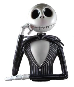 Monogram Jack Skelington Bust Bank