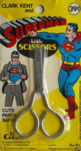 Tesoura Vintage Clark Kent and Superman 1973 Kiddy Scissors