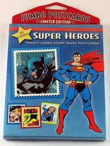 Jumbo postcards DC Comics Super Heroes (pacote com 20 selos temáticos)