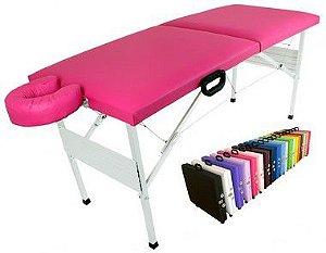 Maca Dobrável Estética Massagem Depilação Rosa Pink