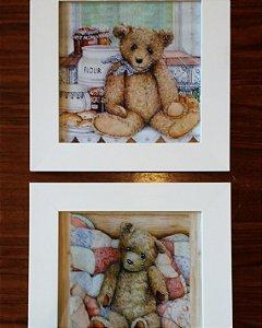 Quadros com gravura Urso Vintage