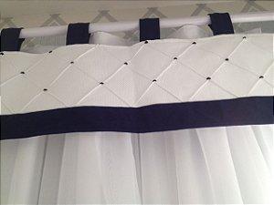 Bandô com nervuras e cortina em voil sob medida