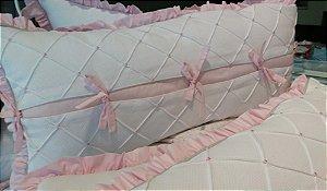 Protetores de Berço em Piquet detalhes rosa