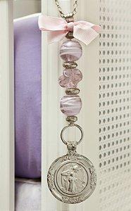 Medalhão Anjo da Guarda para Berço muranos Rosa