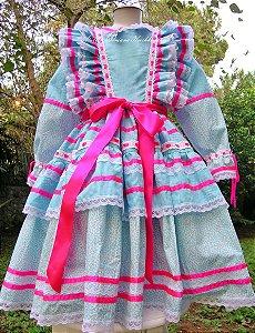 Vestido Caipira Chic azul e pink
