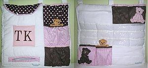 Porta Fraldas e Porta objetos bordado com iniciais