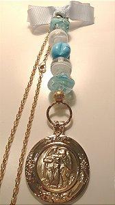 Medalhão Anjo da Guarda para Berço muranos azul