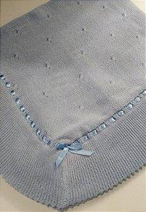 Manta trico em linha azul