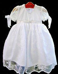 Vestido Batizado renda Chantilly branco