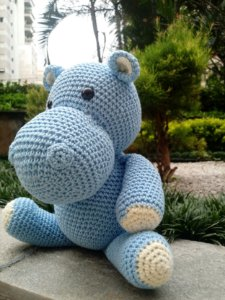 Hipopótamo em crochet Amigurumi