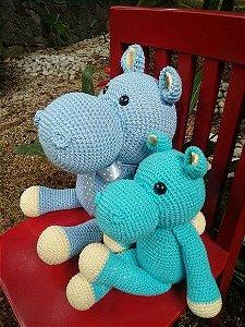 Hipopótamo + filhote em crochet Amigurumi