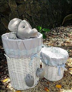 Cesto roupa elefantinho e lixeira