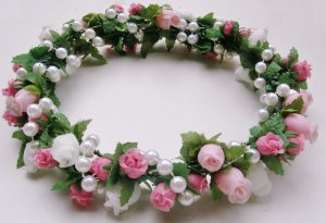 Tiara coroa de flores com péroloas