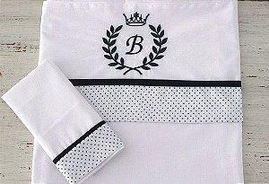 Jogo de lençol com monograma bordado