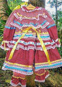 Vestido caipira chic poá vermelho