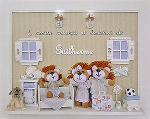 Enfeite porta maternidade familia leão