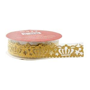 Fita Adesiva Rendada Coroa com Glitter (1 metro)