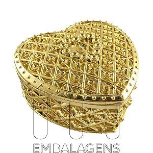 Porta Joia para Lembrancinhas de Coração Dourado (12 unid.)