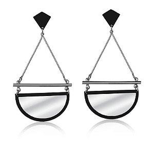 Brinco Espelhado Pendulo Vazado Banhado a Ródio Negro