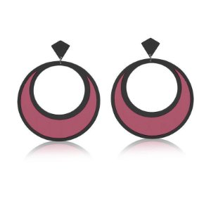 Brinco Redondo Rosa e Preto Banhado a Ródio Negro