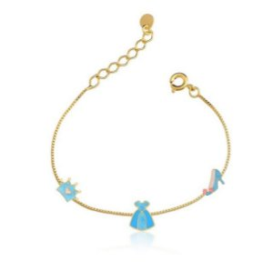 Pulseira Kids Banhada a Ouro com Coroa Vestido e Sapato Cor Azul