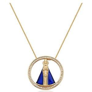 Colar Nossa Senhora Aparecida Azul Banhada a Ouro