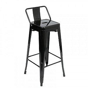 Banqueta  Tolix Preta - Design Industrial (76 Cm)