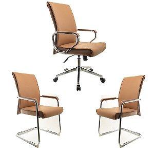 Kit Cadeiras De Escritório - Executiva e Interlocutor