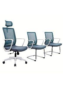 Kit Cadeira de Escritório Toronto Cinza/Branca- Anatômica