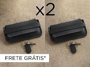 2 Porta-Óculos Pala com Monograma - Couro Preto