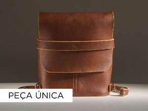 Mochila Pala - Couro Chocolate Texturizado