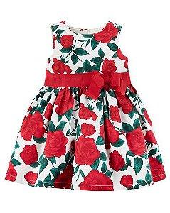 Vestido Carters Festa Menina Floral Vermelho