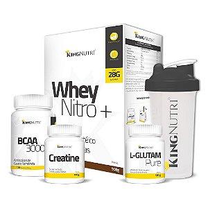 Kit Whey Nitro+ + BCAA + Creatina + Glutamina + Brinde