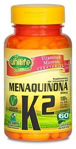 Menaquinona (Vitamina K2) - 60 cápsulas - Unilife Vitamins