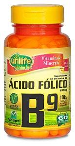 Ácido Fólico (Vitamina B9) - 60 cápsulas - Unilife Vitamins