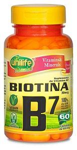 Biotina (Vitamina B7) - 60 cápsulas - Unilife Vitamins